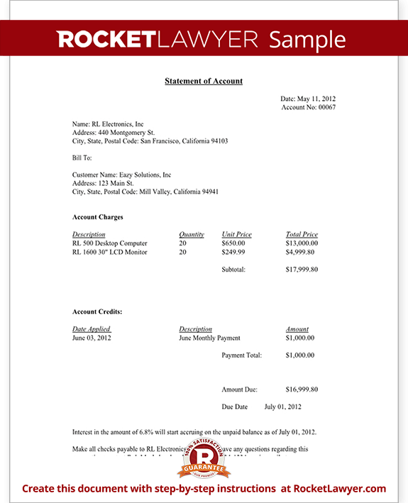 Statement Of Account Free Statement Of Account Letter Template