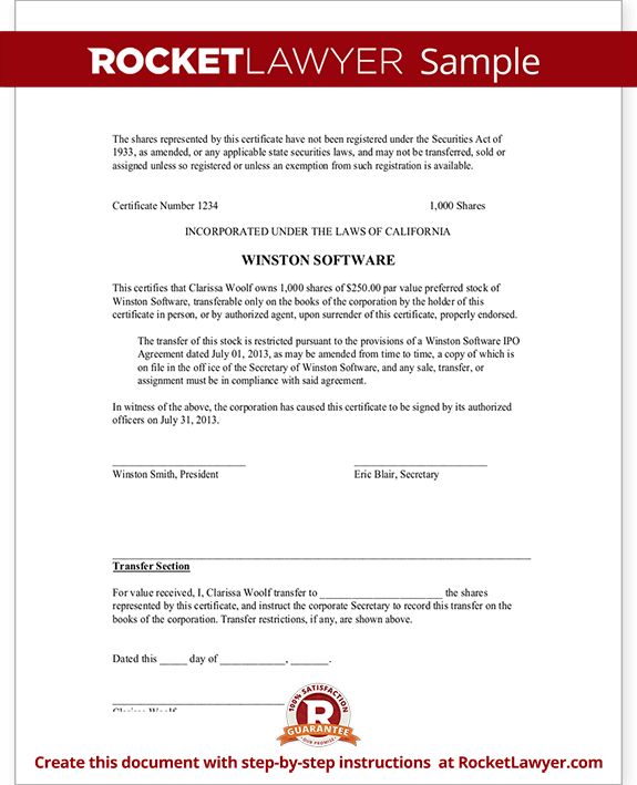 Corporate Share Certificate Template – Shareholder Certificate Template