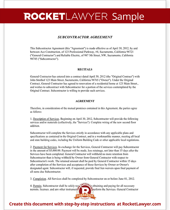 Subcontractor Agreement Contract Form Rocket Lawyer