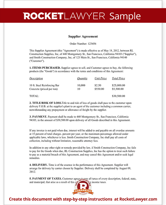 Supply Agreement - Supply Contract Template (Form with Sample)