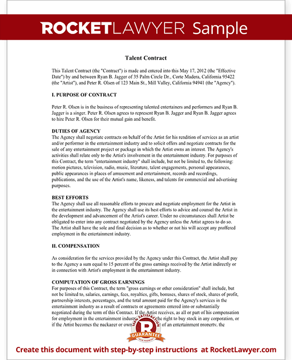 Talent Agreement Talent Contract Template With Sample - Actor contract template