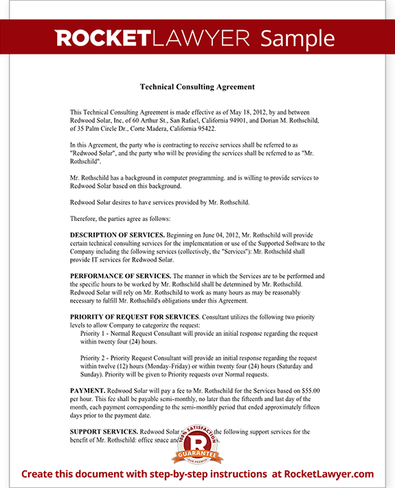 Consulting Agreement For Technical Services Contract Template