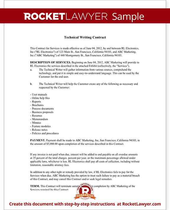Technical Writing Contract Agreement Form With Sample – Simple Contract for Services