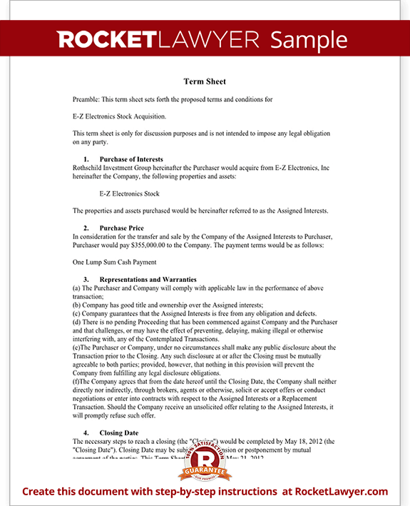 Term Sheet Template Sample Term Sheet – Term Sheet Template