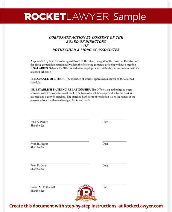 Unanimous Consent Form Template Test