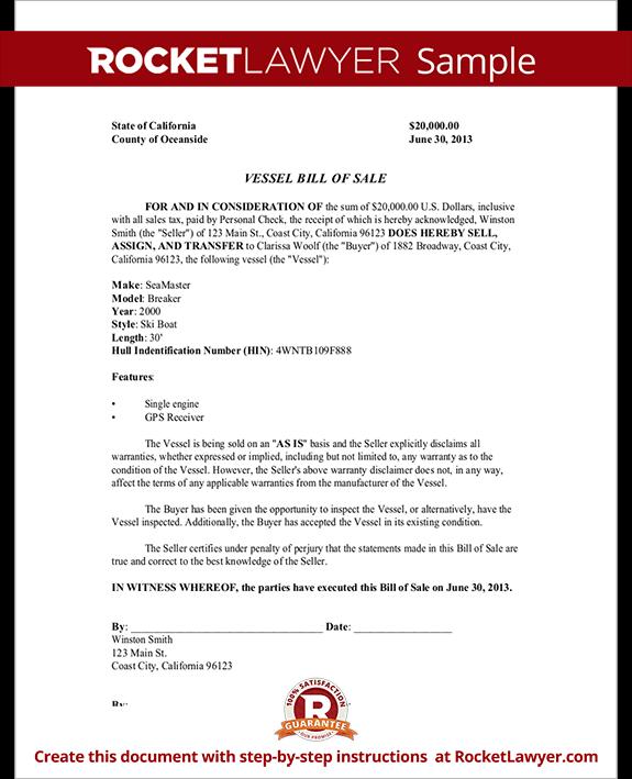 Vessel Bill Of Sale Form Template Test.