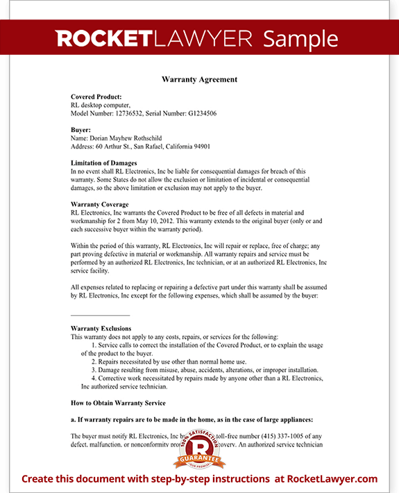 warranty agreement template warranty agreement with sample