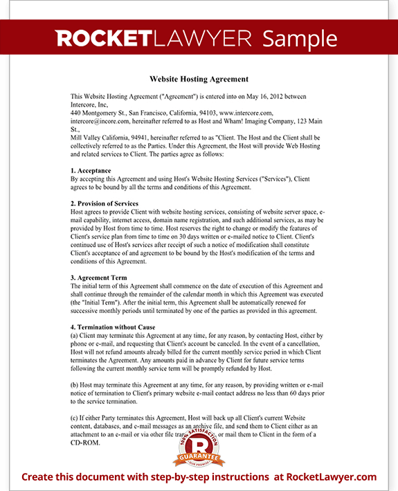 Web Hosting Agreement Template Website Hosting Contract With Sample