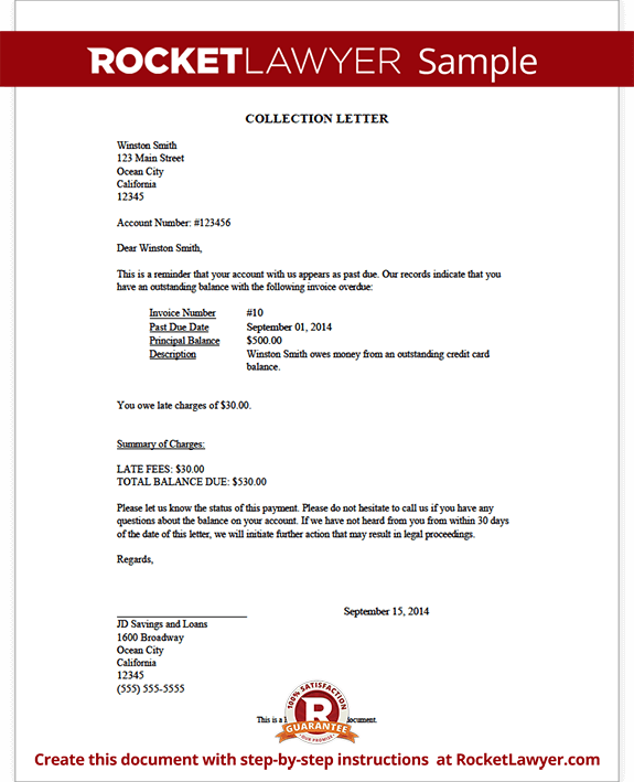 Template for collection letter debt collection letter template ecollect altavistaventures Choice Image