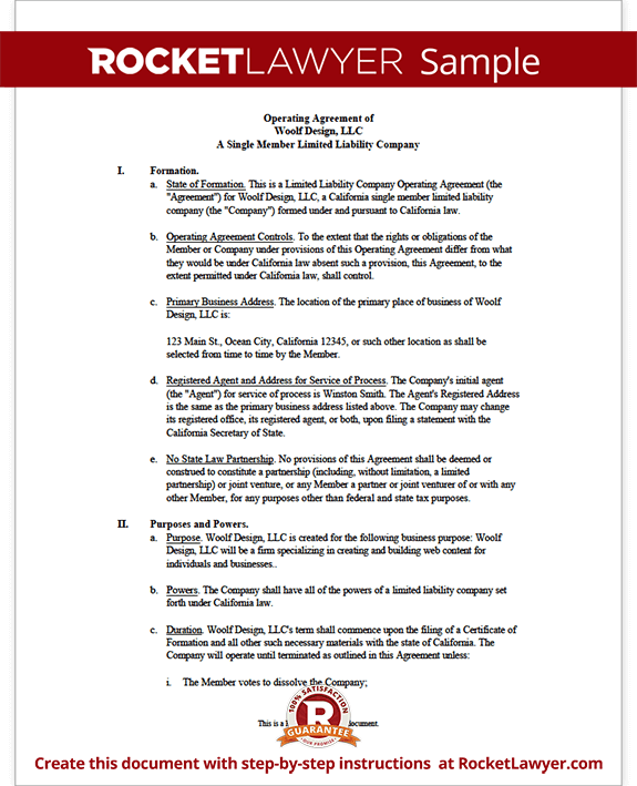 Single Member Llc Operating Agreement Template Rocket Lawyer