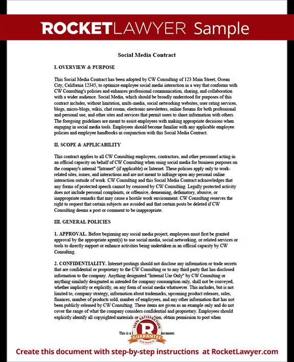 social media contract template