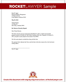 Security Deposit Return Letter Template   Landord Return of
