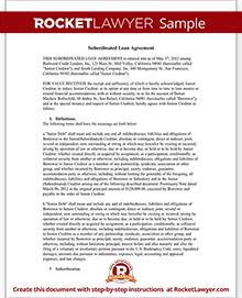 Sample Subordinated Loan Agreement