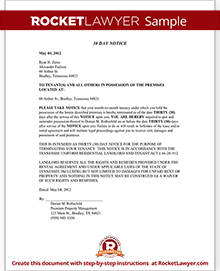 Sample Tennessee Eviction Notice  Eviction Notice Templates