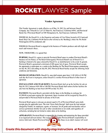 Sample Vendor Agreement