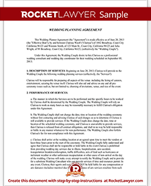 Sample Wedding Planner Agreement  Legal Contracts Templates Free