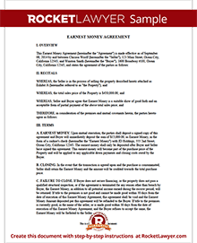 Sample Earnest Money Agreement  Auto Sale Contract With Payments