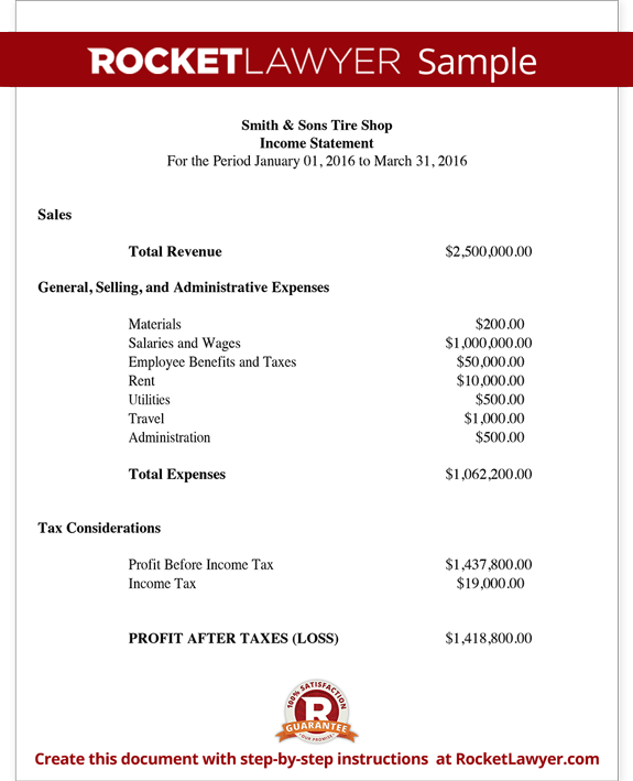 Business Financial Statement – Business Statement Template