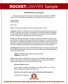 Lease Agreement Form Free Rental Agreement Template Rocket Lawyer - Housing contract template